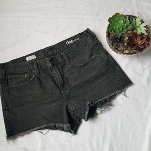 Black Distressed Denim Gap Slim Shorts